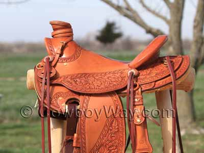 Beautifully tooled Wade saddle.
