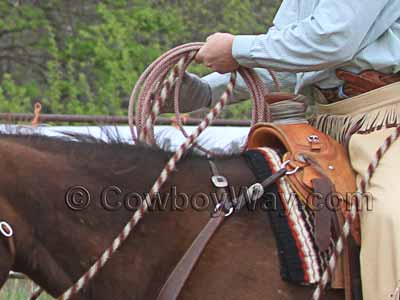 A Wade saddle being used for roping