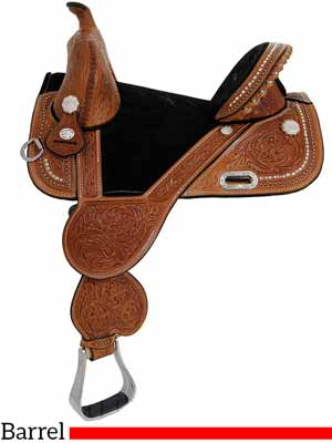 A treeless barrel racing saddle by Tammy Fischer and Circle Y