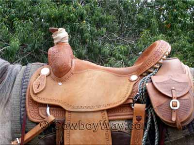 A roping saddle with a flatter seat than than the ranch saddle above