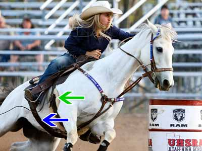 A barrel racer competes in a Western barrel saddle