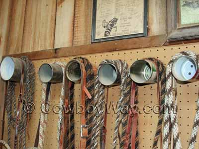 A row of bridles hanging on a can bridle rack