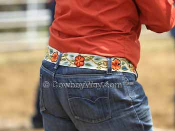A floral-themed woman's belt