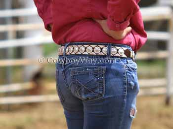 Womens Western belt with silver